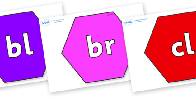 Initial Letter Blends on Hexagons - Initial Letters, initial letter, letter blend, letter blends, consonant, consonants, digraph, trigraph, literacy, alphabet, letters, foundation stage literacy