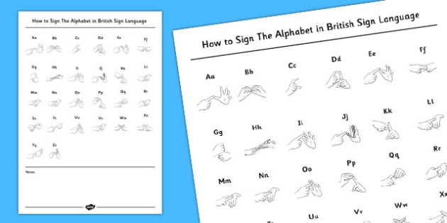 How to Sign the Alphabet in British Sign Language Handout - sign