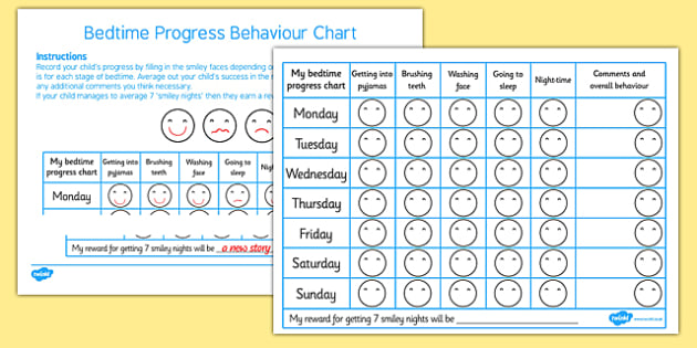 Bedtime Progress Behaviour Chart -bedtime progress behaviour chart, behaviour, bedtime, bed, time, charts, chart, award, well done, reward, medal, rewards, school, general, achievement, progress