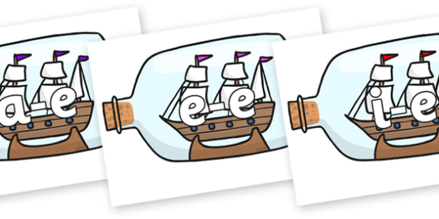Modifying E Letters on Ship in a Bottles - Modifying E, letters, modify, Phase 5, Phase five, alternative spellings for phonemes, DfES letters and Sounds