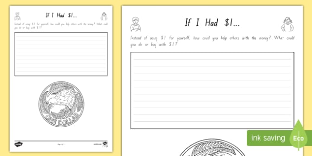If I Had 1 Activity Sheet - nz, new zealand, if i had, money, dollars, activity, worksheet