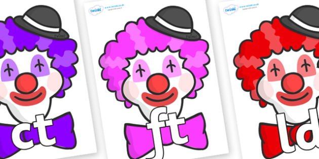 Final Letter Blends on Clown Faces - Final Letters, final letter, letter blend, letter blends, consonant, consonants, digraph, trigraph, literacy, alphabet, letters, foundation stage literacy