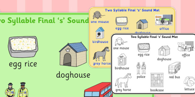 Two Syllable Final 'S' Sound Word Mat - final s, sound, word mat