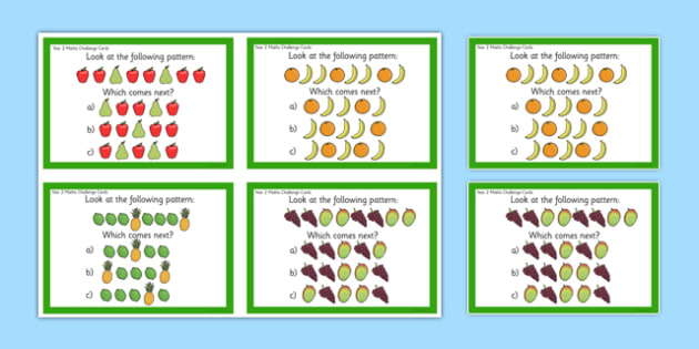 Year 2 Maths Pattern Challenge Cards - year 2, maths, challenge cards, challenge, cards, pattern
