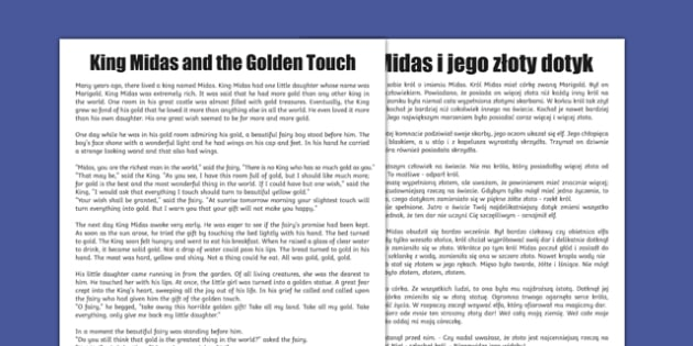 King Midas Story Print-Out Polish Translation - polish, king, midas, story, print out, print