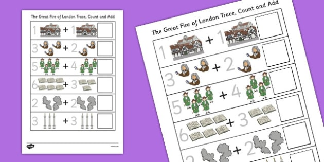 The Great Fire of London Trace Count and Add Activity Sheet, worksheet