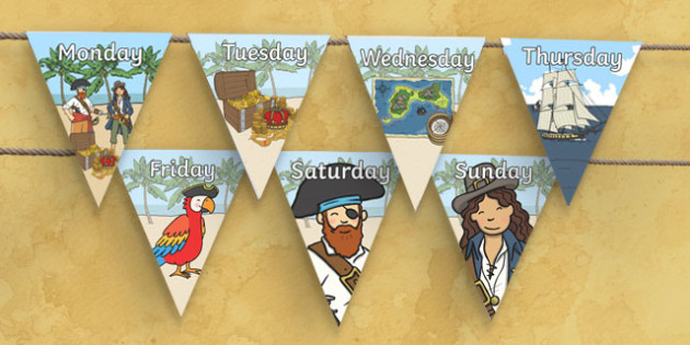 Pirate Themed Days of the Week on Bunting - pirate themed, days of the week, bunting, pirate bunting, days of the week on bunting, bunting