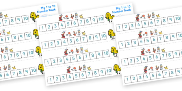 Toys from the Past Number Track (1-10) - Maths, Math, number track, toys, numbertrack, Counting, Numberline, Number line, Counting on, Counting back