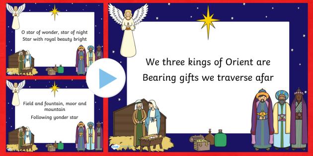 We Three Kings Christmas Carol Lyrics PowerPoint - we three kings, christmas, christmas carol, lyrics powerpoint, christmas songs, lyrics, powerpoint, poems