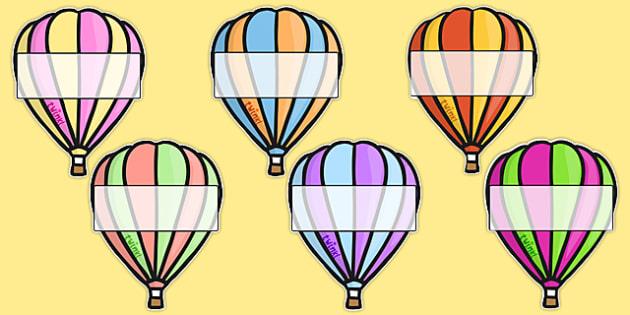 Hot Air Balloons 2 per A4 Editable Box - Hot air balloon, balloon, display, poster, editable, label, template, birthday display