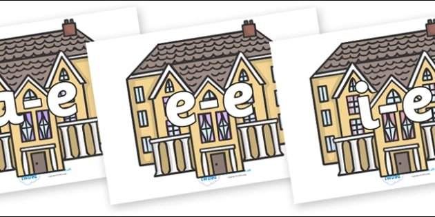 Modifying E Letters on Houses - Modifying E, letters, modify, Phase 5, Phase five, alternative spellings for phonemes, DfES letters and Sounds