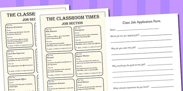 Transition Classroom Job Application Adverts and Form - transition classroom job application, adverts, form, classroom jobs, job, transition, application, apply, to class, sheet, transfer, why I should be in class, application form to class, what am