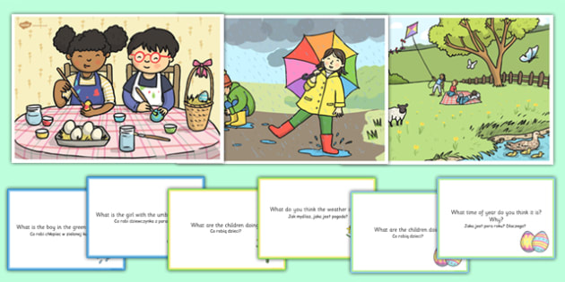 Spring Scenes and Question Cards Pack Polish Translation - polish, spring scenes, questions, comprehension pack