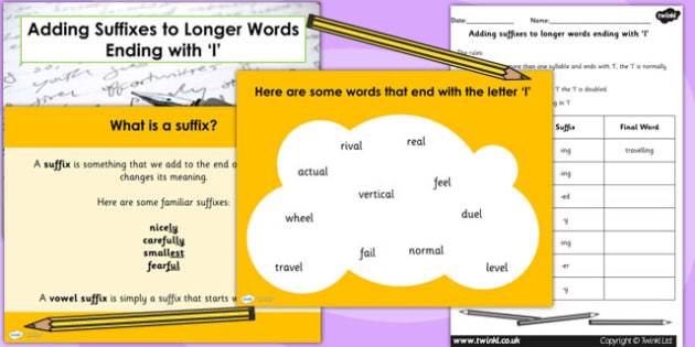 Adding Suffixes to Longer Words Ending with l SpaG PowerPoint