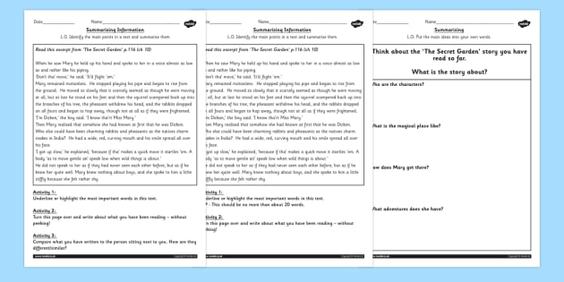 The Secret Garden Summarising Practice Differentiated Worksheets