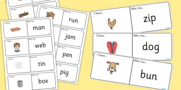 CVC Loop Cards - cvc, loop cards, words, I have, who has, loop
