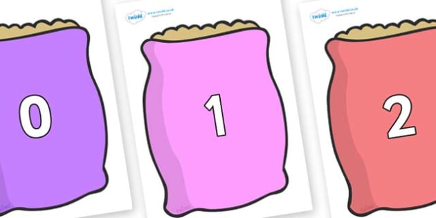 Numbers 0-31 on Bags - 0-31, foundation stage numeracy, Number recognition, Number flashcards, counting, number frieze, Display numbers, number posters