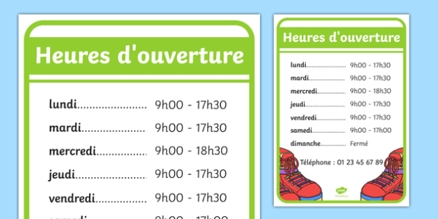 Heures d'ouverture Shoe Shop Role Play Opening Times French - french, Shoe shop, shoes, role play, shop, trainers, display, poster, shoe box, labels, measuring chart, word cards