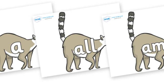 Foundation Stage 2 Keywords on Lemurs - FS2, CLL, keywords, Communication language and literacy,  Display, Key words, high frequency words, foundation stage literacy, DfES Letters and Sounds, Letters and Sounds, spelling