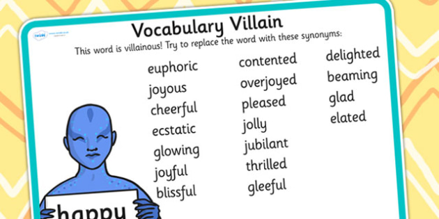 Vocabulary Villain Happy Word Mat - happy, word mat, topic words, key words, word list, keyword, words, key word mat, themed word mat, themed word list