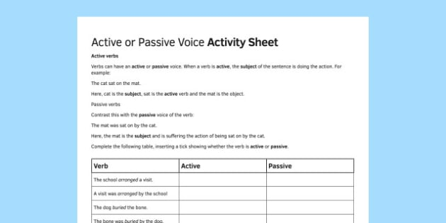 KS3 Active and Passive Voice Activity Sheet - ks3, active, passive, voice, activity, sheet, worksheet