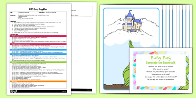 Complete the Beanstalk EYFS Busy Bag Plan and Resource Pack - Jack and the Beanstalk, EYFS, Maths, counting