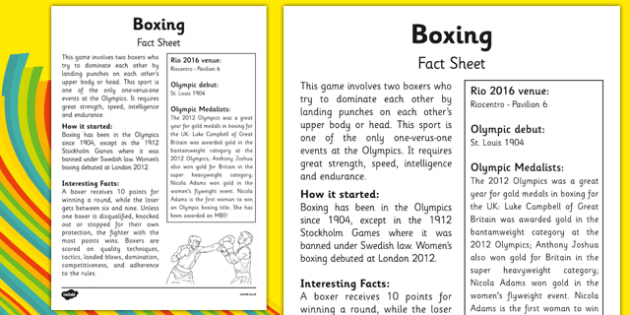 The Olympics Boxing Fact Sheet - the olympics, rio 2016, rio olympics, 2016 olympics, boxing, fact sheet