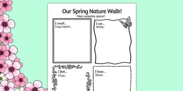 Our Spring Nature Walk Writing Frame Polish Translation - polish, spring, nature, walk