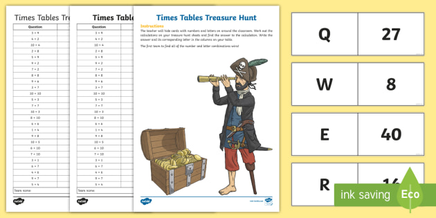All Times Tables Treasure Hunt Activity - times tables, treasure
