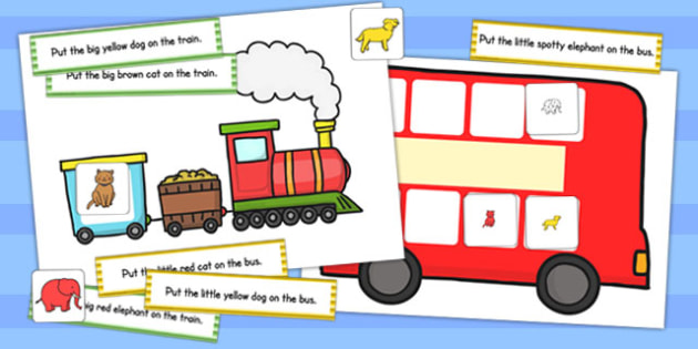 Train and Bus Following Instructions Word Game 4ICW - games