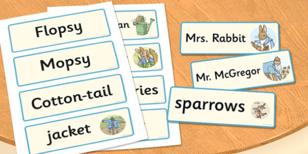 The Tale of Peter Rabbit Word Cards - word cards, peter rabbit