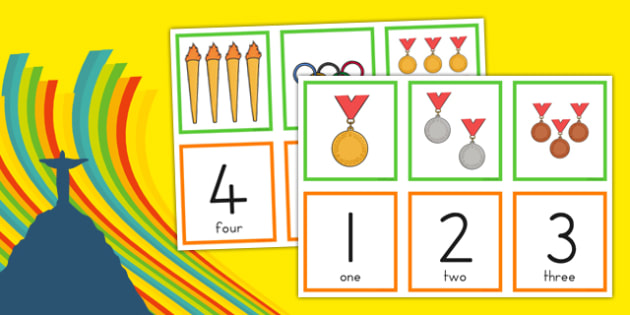 Olympic Counting Matching Cards Matching Cards