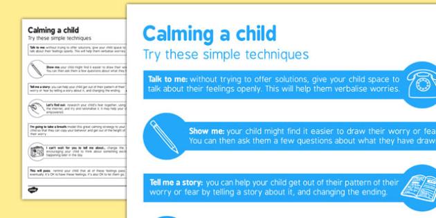 Calming a Child Leaflet - calming, child, leaflet, reassure, calm