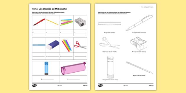 Los objetos de mi estuche In My Pencil Case Spanish Activity Sheet Translation - spanish, pencil case items, estuche, ficha, worksheet, clase, colours, writing, escribir