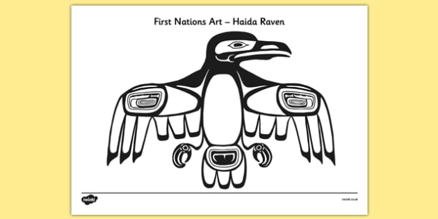First Nations Art - Haida Raven Colouring Page - first nations, art, first nations art, nation, haida raven, colouring, colour