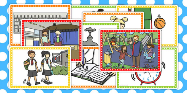 School Walk Picture Cards - school, walk, picture cards, cards