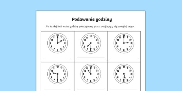 Karta Podawanie godziny po polsku, worksheet