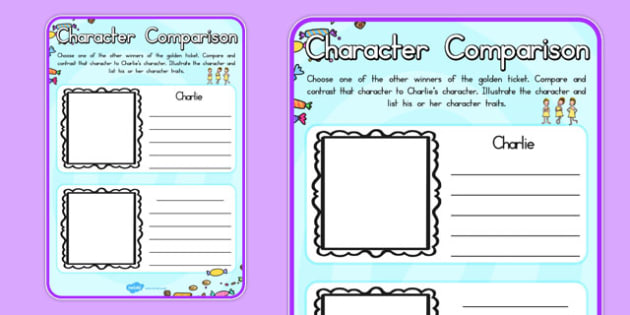 Character Comparison to Support Teaching on Charlie and the Chocolate Factory - australia