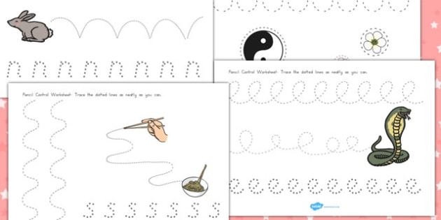 Chinese New Year Pencil Control Path Worksheets - australia, path