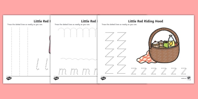 Little Red Riding Hood Pencil Control Sheets - pencil control