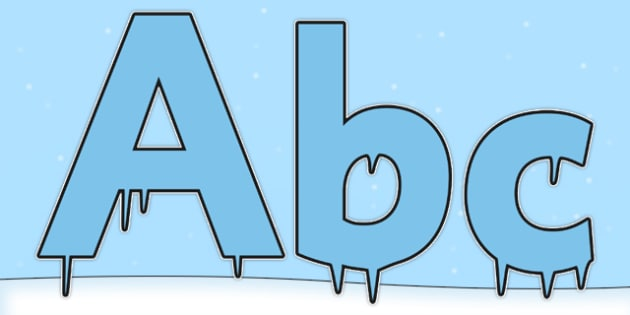 Blue Icicle Ice Themed Display Lettering - blue icicle, ice, display lettering, display, lettering