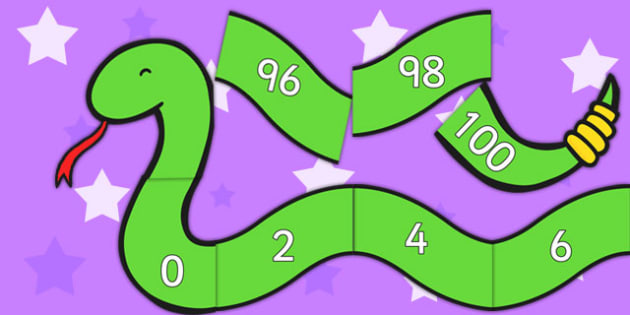 Counting in 2s Number Snake - Counting, Numberline, Number line, Counting on, Counting back, even numbers, foundation stage numeracy, snake, counting in 2s