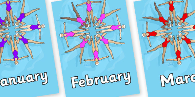 Months of the Year on Synchronised Swimming - Months of the Year, Months poster, Months display, display, poster, frieze, Months, month, January, February, March, April, May, June, July, August, September