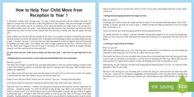 Supporting Your Child Moving to Year 1 Parent and Carer Information Sheet - wellbeing, health, fitness, parents, carers, bullying, support, emotional health, mental health, rel