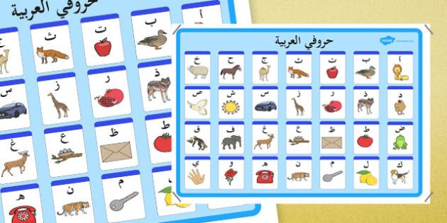 ملصق عرض الحروف العربية - الحروف الهجائية، arabic alphabet