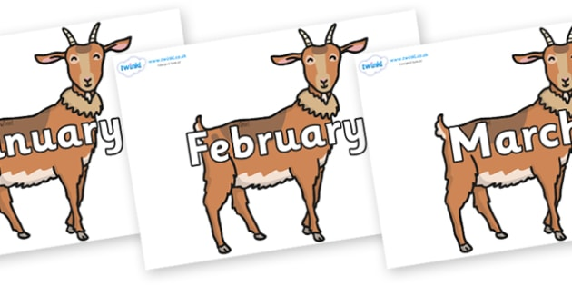 Months of the Year on Medium Billy Goats - Months of the Year, Months poster, Months display, display, poster, frieze, Months, month, January, February, March, April, May, June, July, August, September