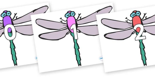 Numbers 0-50 on Dragonflies - 0-50, foundation stage numeracy, Number recognition, Number flashcards, counting, number frieze, Display numbers, number posters