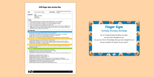 EYFS Humpty Dumpty Bandage Finger Gym Plan and Prompt Card Pack
