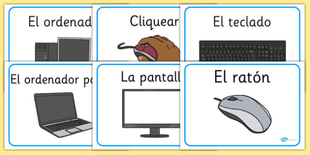 Computer Area Word Labels Spanish - spanish, Computer Area, ICT, Computer, printer, mouse, keyboard, click, CD, Internet