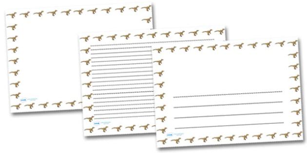 Velociraptor Landscape Page Borders- Landscape Page Borders - Page border, border, writing template, writing aid, writing frame, a4 border, template, templates, landscape